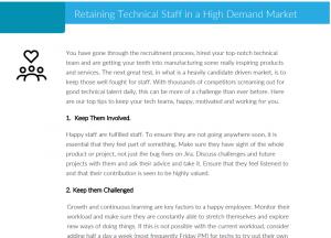 Retaining Technical Staff in a High Demand Market